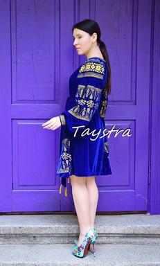 Short Velvet Boho Dress, Gold Embroidery, Short Blue Dres, ethno style boho chic, Bohemian, Vyshyvanka Dress Multi Color Embroidery, Ukrainian embroidery
