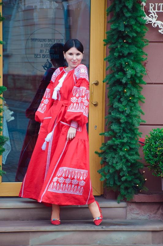 Dress Embroidered Red Maxi Linen Dress Vyshyvanka Ukrainian Boho Chic