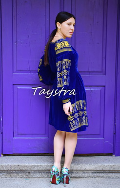 Short Velvet Boho Dress, Gold Embroidery, Short Blue Dres, ethno style boho chic, Bohemian, Vyshyvanka Dress Multi Color Embroidery, Ukrainian embroidery