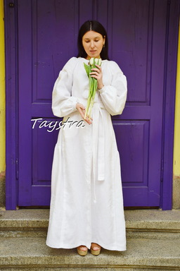 Embroidered White Boho Dress linen, ethno, style boho chic, Bohemian Vyshyvanka Dress Multi Color Embroidery Linen, Ukrainian embroidery
