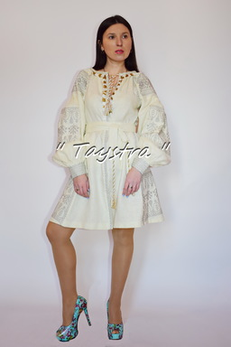 Short Dress Embroidered,ethno style boho chic, Bohemian, Vyshyvanka Dress Multi Color Embroidery Linen, Ukrainian embroidery,Beige Dress