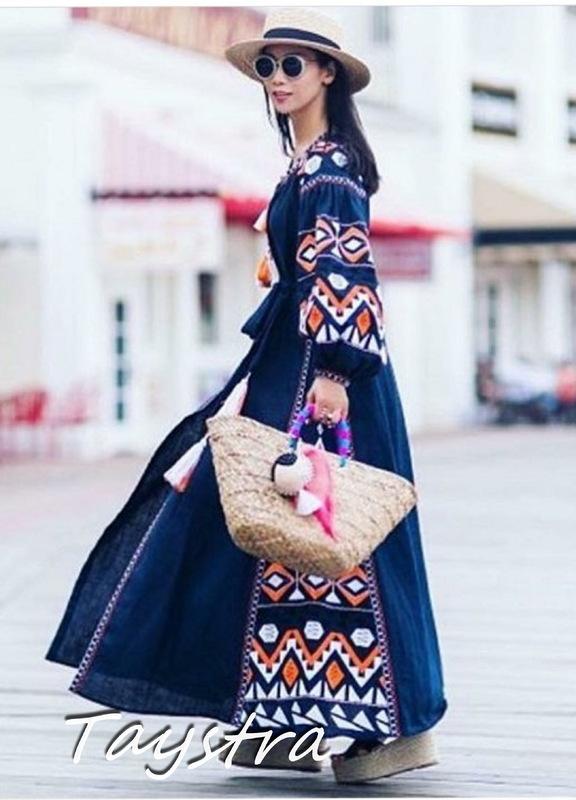 Blue Dress Boho Embroidered Vyshyvanka Dress Embroidery Linen Maxi Dress
