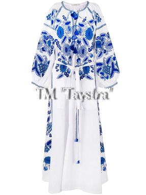 Vita Kin style ethno Embroidered Boho Dress, White linen Dress, Bohemian Vyshyvanka Dress Ukrainian embroidery