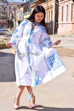 Embroidered Boho Dress, White linen Dress, ethno style boho chic, Bohemian Vyshyvanka Dress Multi Color Embroidery Linen, Ukrainian embroidery