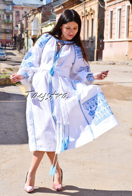 Embroidered Boho Dress, White linen Dress, ethno style boho chic, Bohemian Vyshyvanka Dress Multi Color Embroidery Linen, Ukrainian embroidery