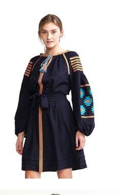 Vyshyvanka Dark Dress Ukrainian embroidery, Mini Dress, Boho, ethno, style boho chic, Embroidered dress, Multi Color Embroidery Linen