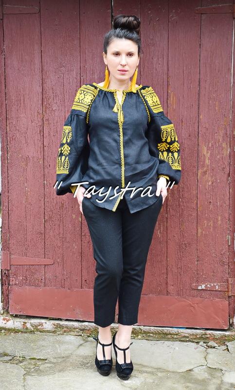 Black Blouse Embroidered Vyshyvanka  Linen Boho style, Bohemian, ethno,Ukrainian embroidery, Embroidered clothes