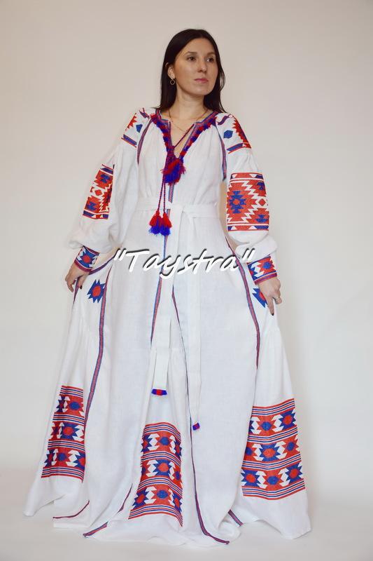 Boho Chic Maxi Dress Embroidered 4 wedges, ethno style, Bohemian, Vyshyvanka Dress Multi Color Embroidery Linen, Ukrainian embroidery, White Maxi Dress