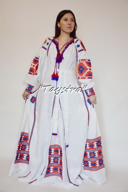 Boho Chic Maxi Dress Embroidered 4 wedges, ethno style, Bohemian, Vyshyvanka Dress Multi Color Embroidery Linen, Ukrainian embroidery, White Maxi Dress