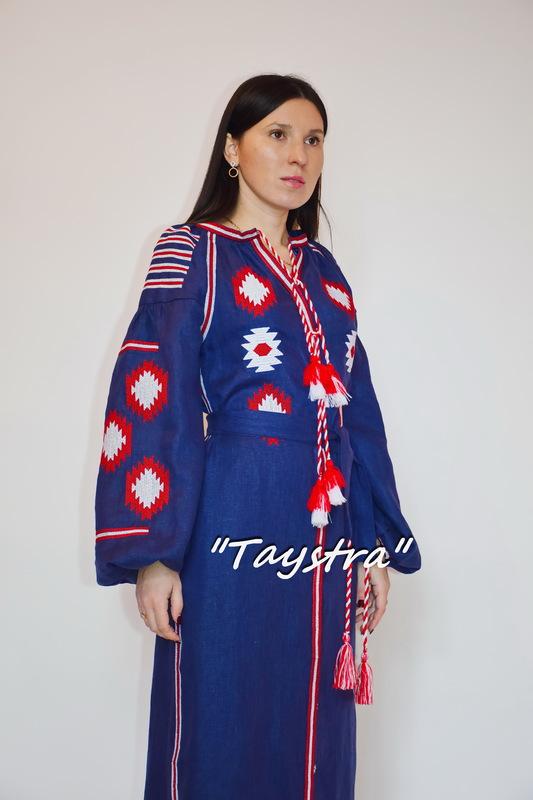 Vyshyvanka Dress Multi Color Embroidery Linen, Ukrainian embroidery, Blue Dress Boho Chic Etno