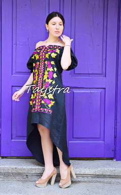 Evening Dress Embroidered linen, ethno style boho chic, Midi Dress, for the wedding, Embroidered Black Dress, Multi Color Embroidery Linen