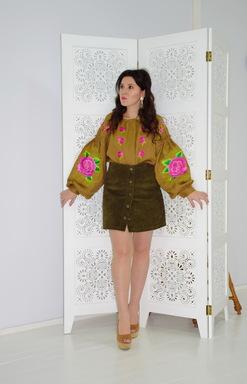 Boho Embroidered Blouse Vyshyvanka  Linen, embroidered linen, ethno, style boho chic, Bohemian,Ukrainian embroidery,Embroidered clothes,Brown Blouse