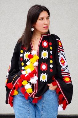 Black Blouse Vyshyvanka  Linen Boho style Bohemian, ethno Ukrainian embroidery, Embroidered clothes, Tunic