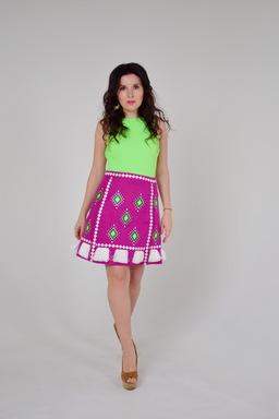 Burgundy Wine Skirt Еmbroidered, summer skirt