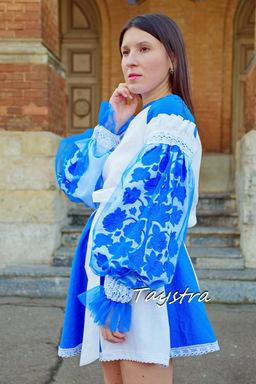 Evening Dress Ukrainian embroidery, Multi Color Embroidery Linen Dress Embroidered Vyshyvanka Boho