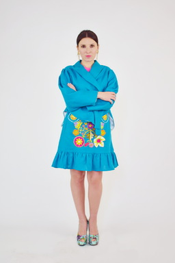 Women's Suit Summer, Embroidered Skirt with Belt and Ethno Style Blouse, Embroidered Boho Clothes