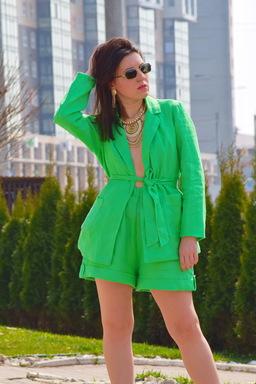 Linen Suit Women's Suit Blazer & Shorts, Bright Green, Summer Suit Linen