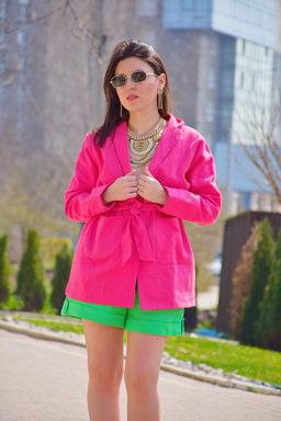 Women's Suit Blazer & Shorts, Bright Green, Summer Suit Linen