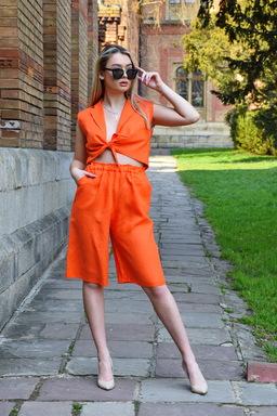 Linen Suit, Women's Suit Top and Shorts, Bright Orange Summer Suit Linen