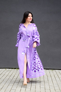 Lilac Dress Embroidered Vyshyvanka Maxi Dress Multi Color Embroidery Linen Dress Ukrainian