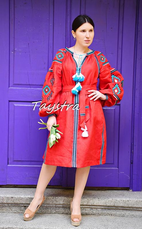 Gypsy Style Embroidered Dress Red Linen, ethno style boho chic, Bohemian Vyshyvanka Dress Multi Color Embroidery Linen, Ukrainian embroidery