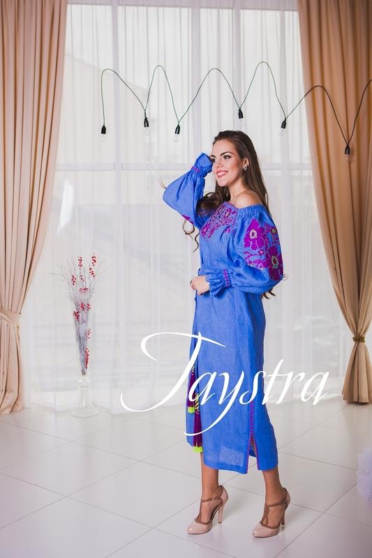 Fashionable stylish evening dress boho embroidered linen, ethno, style boho chic, blue dress, for the wedding, Embroidered dress, Multi Color Embroidery Linen