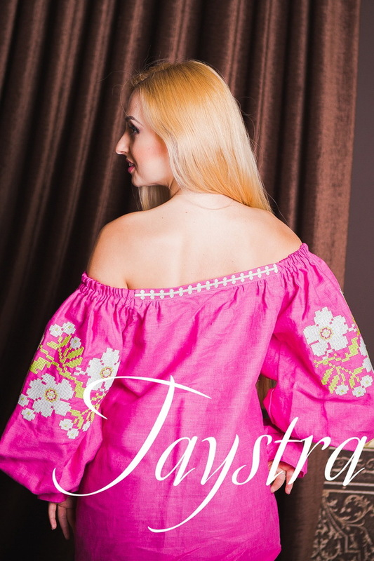Vyshyvanka Ukrainian Embroidery, Boho, ethno, style boho chic, Embroidered Blouse Pink, raspberry, Multi Color Embroidery Linen Blouse open shoulders