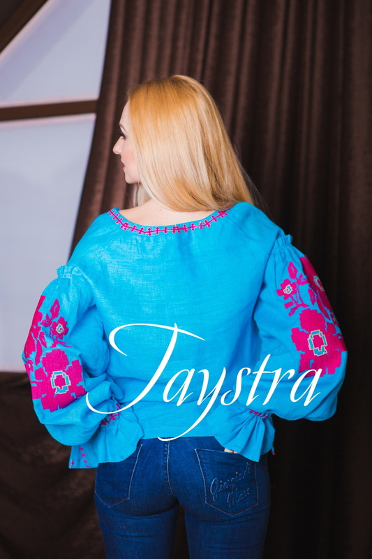 Embroidered Blouse Vyshyvanka  Linen,Turquoise Blouse, ethno, style boho chic, Bohemian, Vyshyvanka  Multi Color Embroidery Linen, Ukrainian embroidery, Embroidered clothes