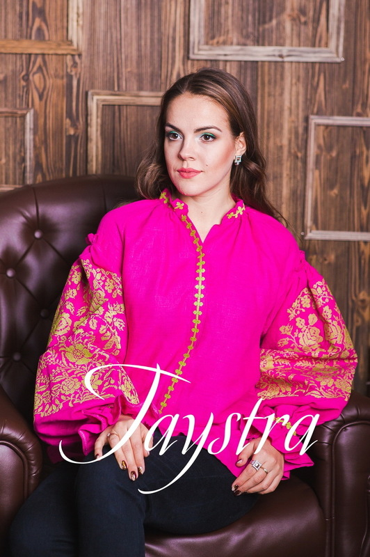 Vyshyvanka Gold Embroidery Ukrainian Embroidery, Boho, ethno, style boho chic, Embroidered Blouse Pink, raspberry, Multi Color Embroidery Linen