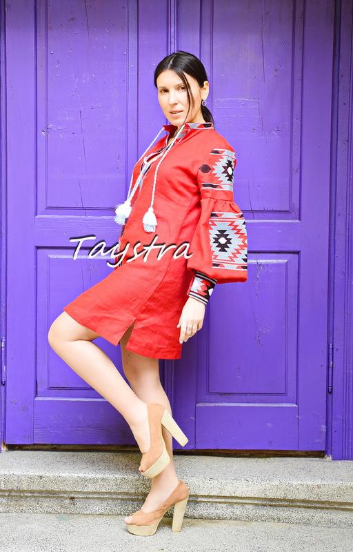 Embroidered Dress, Short Red Dress Tunic Linen, ethno, style boho chic, Bohemian Vyshyvanka Dress Multi Color Embroidery Linen, Ukrainian embroidery