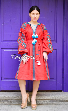 Gypsy Style Embroidered Dress Red Linen, ethno style boho chic, Bohemian Vyshyvanka Dress Multi Color Embroidery Linen, Ukrainian embroidery