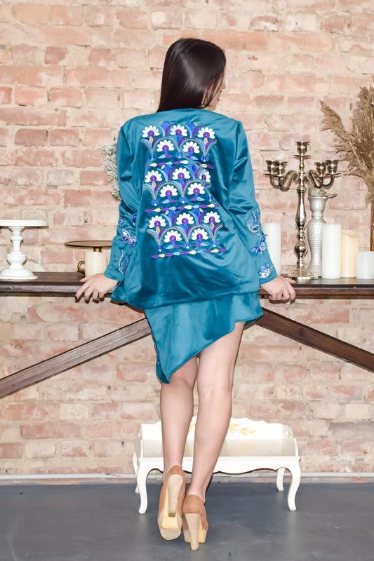 Embroidered Suit Women Velvet Blazer & Skirt Embroidered Velvet Clothes Women Suit Warm Ukrainian