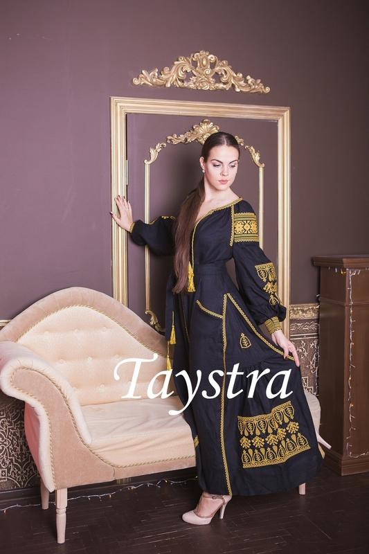 Dress boho embroidered linen, Gold Embroidery, Black Dress, style boho chic, Bohemian Vyshyvanka Dress Multi Color Embroidery Linen, Ukrainian embroidery