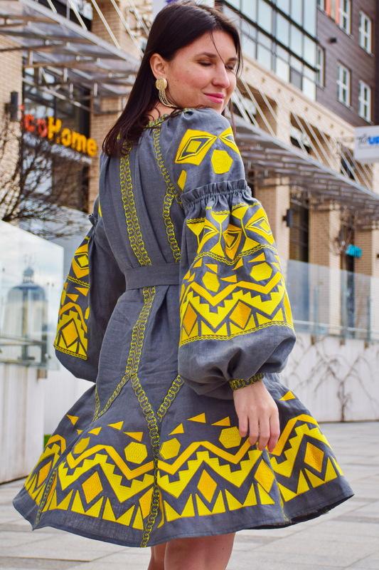 Dress Linen Embroidered, Dress Vyshyvanka 8 wedges, Gray Dress Linen, Disanery dress