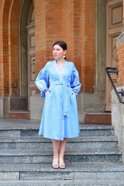 Dress Vyshyvanka Multi Color Embroidery Linen, Ukrainian embroidery, Blue Robe Dress