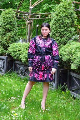 Black Dress Vyshyvanka Dress Multi Color Embroidery Linen, Ukrainian embroidery Dress Boho Embroidered Wedges,