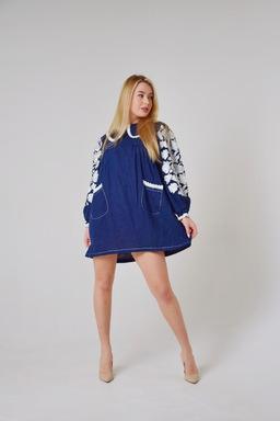 Dress Embroidered Vyshyvanka Dress, Dark Blue Dress with Collar
