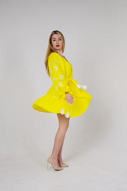 Yellow Dress Vyshyvanka Multi Color Embroidery Linen, Ukrainian embroidery, Yellow Robe Dress
