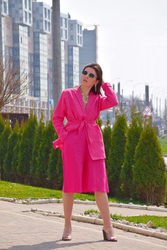 Linen Suit Women's Suit Blazer & Shorts, Bright Pink, Summer Suit Linen