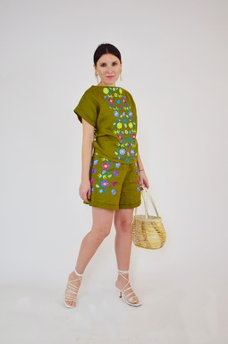Women Suit Linen, Embroidered Ethno Style Shorts and Blouse, Embroidered Boho Clothes