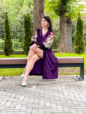 Dress Vyshyvanka, Ukrainian Stylish Velvet Dress Silk-lined, Exclusive Embroidery Purple dress, Grape color