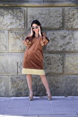 Dress light brown, gold embroidery, Stylish Designer Dress