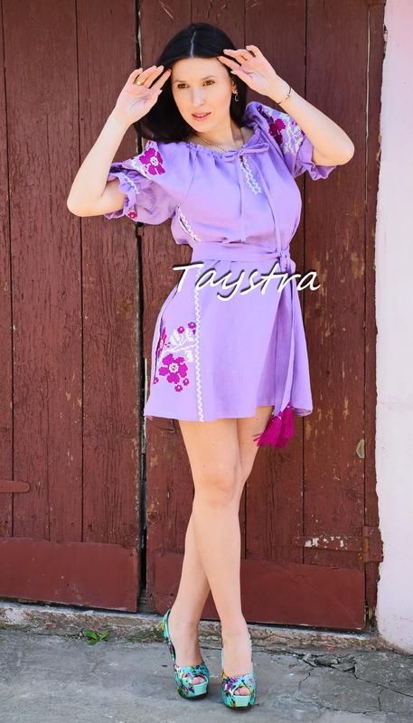 Dress Gypsy Style, Embroidered Purple Dress Linen,Vyshyvanka Dress Embroidery Linen, Ukrainian embroidery Magenta Dress