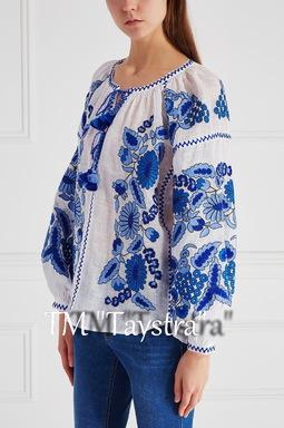 Vyshyvanka Vita Kin Embroidered White Blouse Linen Boho style, Embroidered clothes Ukrainian embroidery