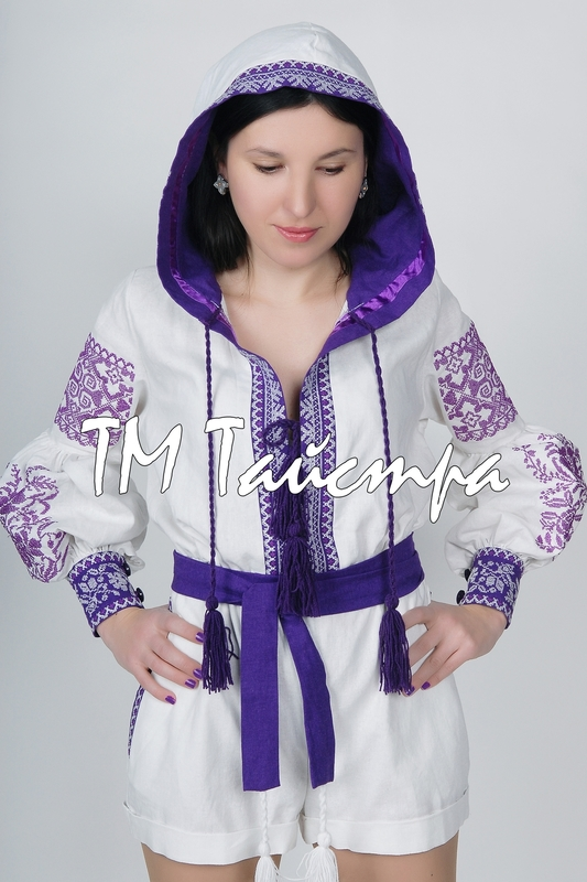 Embroidered overall with a hood, ethno, style boho chic, Bohemian, Vyshyvanka Dress Multi Color Embroidery Linen, Ukrainian embroidery