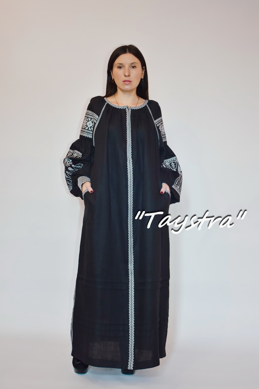 Embroidered Black Dress Silver Embroidery, ethno style boho chic, Bohemian, Vyshyvanka Dress Embroidery Linen, Ukrainian embroidery