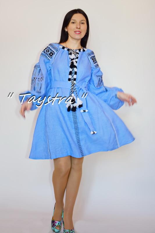Boho Short Blue Dress Embroidered, ethno, style boho chic, Bohemian, Vyshyvanka Dress Multi Color Embroidery Linen, Ukrainian embroidery