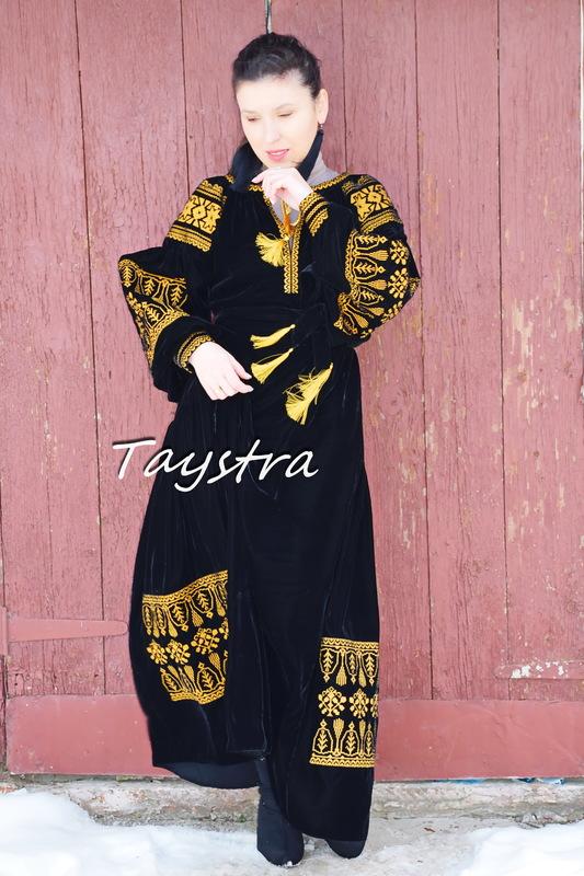 Embroidered Velvet Dress, Black Dress Gold Embroidery, ethno style boho chic, Bohemian, Vyshyvanka Dress Multi Color Embroidery, Ukrainian embroidery