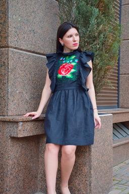 Godet Black Dress Vyshyvanka Dress, Ukrainian embroidery Dress Boho Embroidered