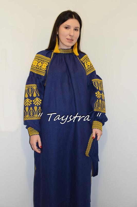 Embroidered dress Blue Dress Gold Embroidery, ethno, style boho chic, Bohemian, Vyshyvanka Dress Multi Color Embroidery Linen, Ukrainian embroidery